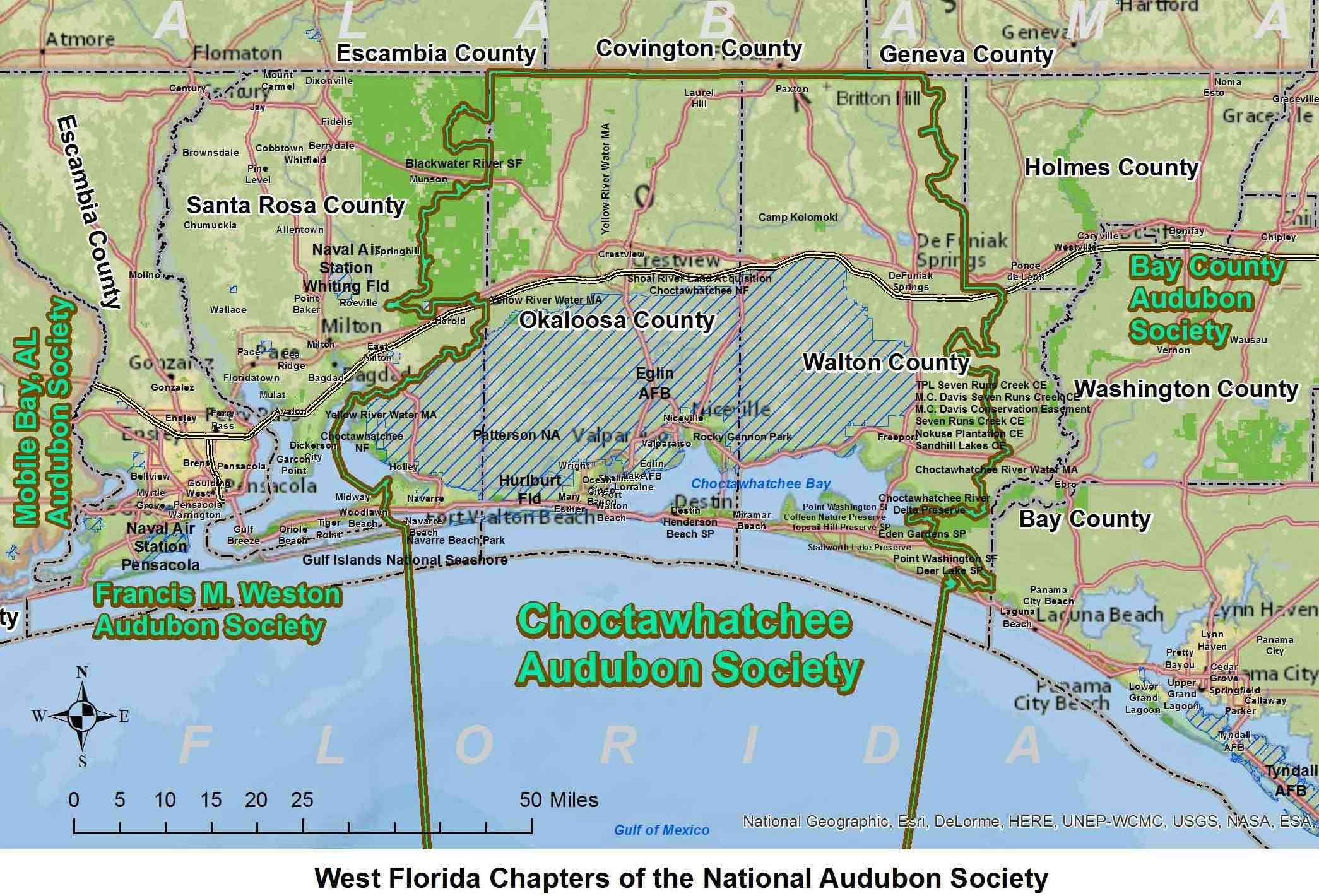 Map of Audubon Chapters (alt text)